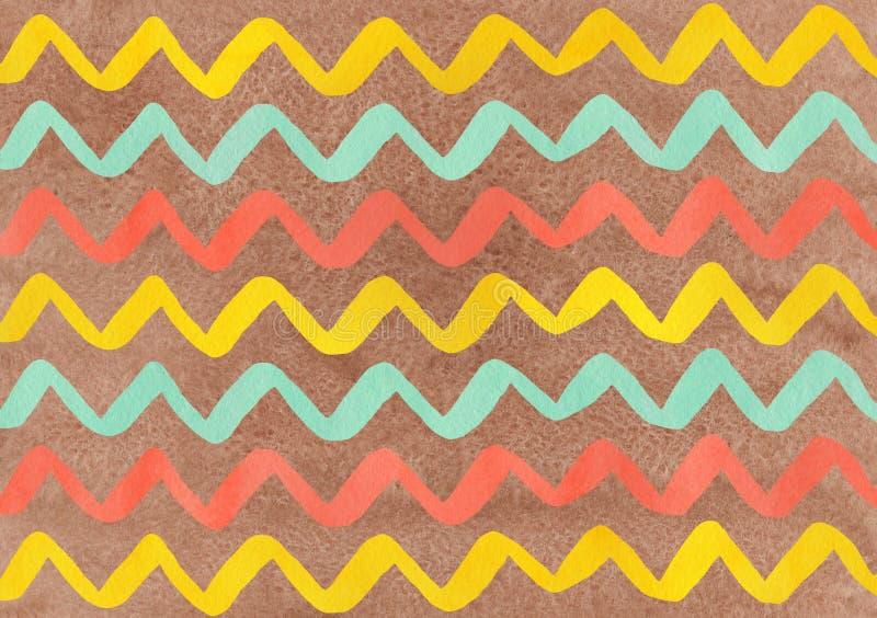 Rayas pintadas a mano del seafoam de la acuarela, de color salmón y amarillas en el fondo marrón, galón libre illustration