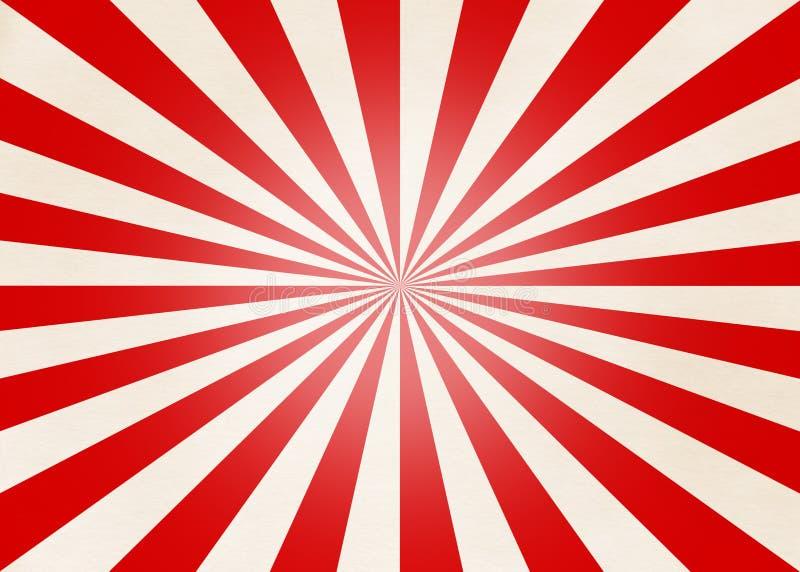 Rayas rojas y beige radiales stock de ilustración