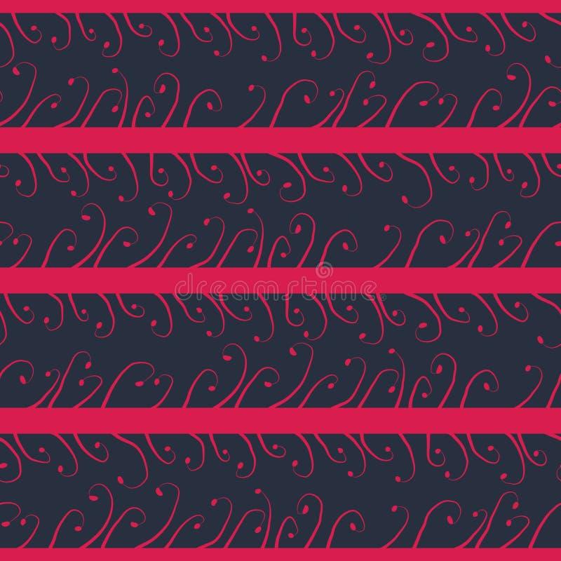 Rayas rosadas con los brotes en fondo azul marino stock de ilustración