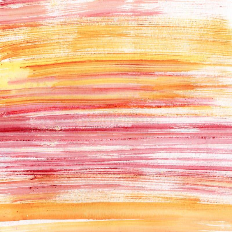 Rayas rosadas y anaranjadas de la acuarela ilustración del vector