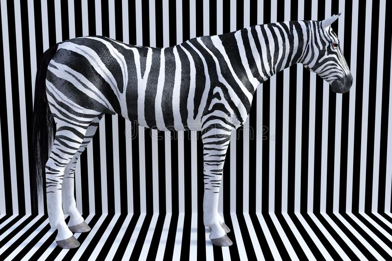 Rayas surrealistas de la cebra, animal de la fauna, naturaleza imagen de archivo