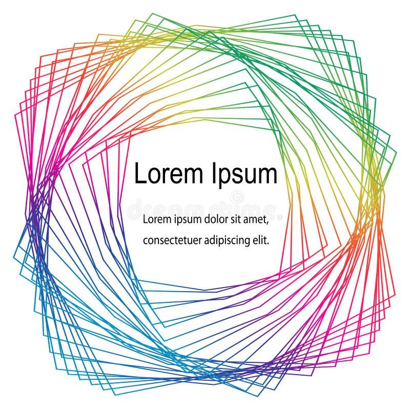 Rayas torcidas en vórtice Modelo coloreado arco iris de los polígonos Plantilla para las tarjetas de visita, etiquetas, aviadores ilustración del vector