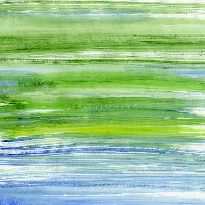 Rayas verdes y azules de la acuarela stock de ilustración
