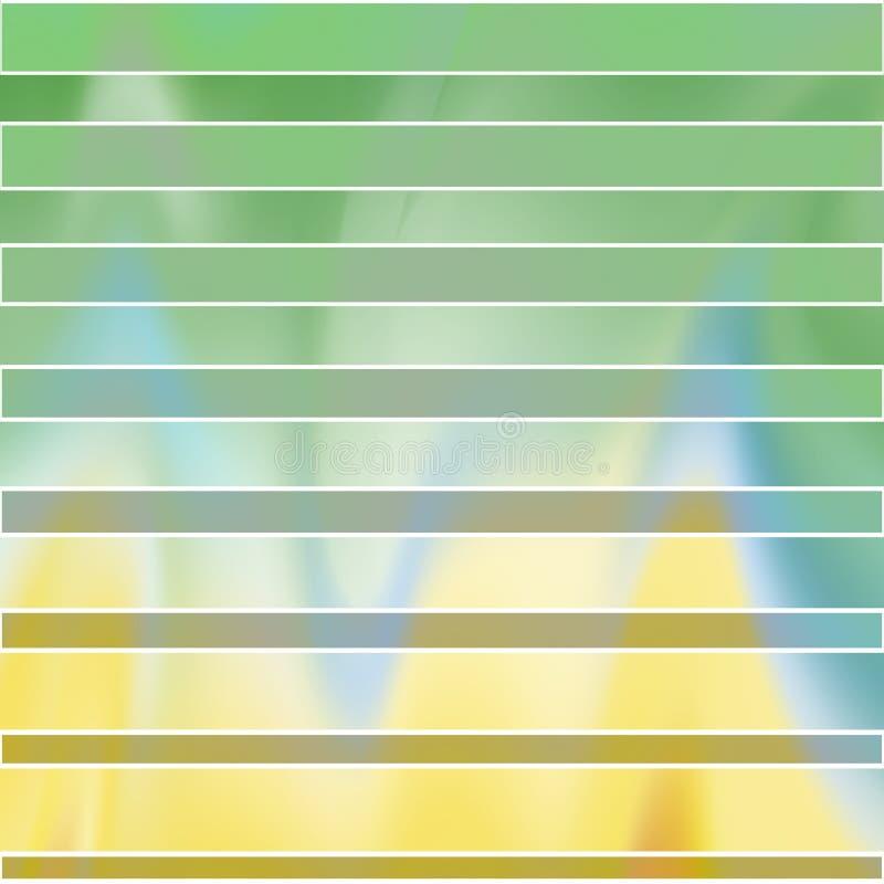 Rayas verdes y blancas de diversas anchuras, en un fondo ligero borroso con transiciones agudas rizadas de la pendiente, vector ilustración del vector