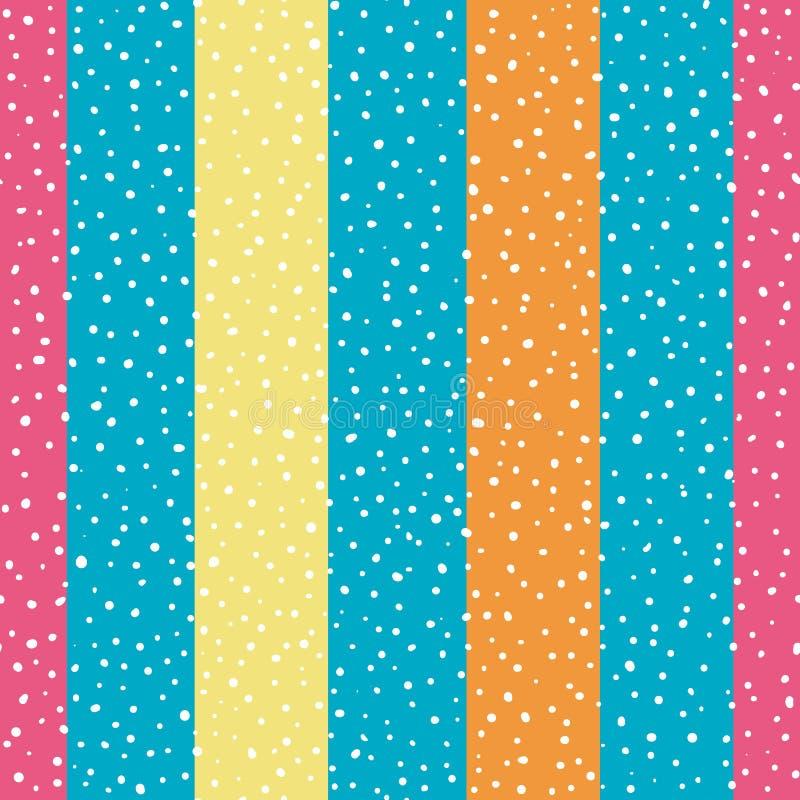 Rayas verticales anchas brillantes de la naranja, del amarillo y del rosa con los puntos al azar Modelo inconsútil del vector en  stock de ilustración