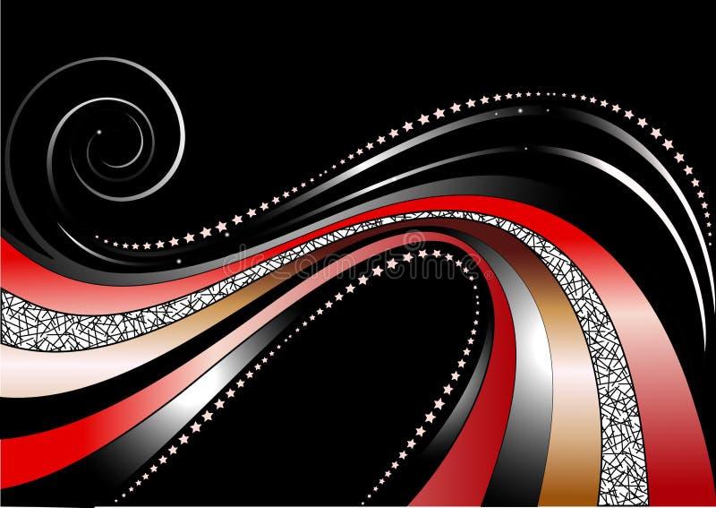 Rayas y estrellas onduladas coloreadas y de plata en fondo negro imagenes de archivo
