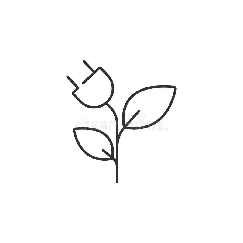 Rayez l'énergie efficace, prise avec l'icône de feuille Illustration simple d'élément Énergie efficace, prise avec la conception  illustration stock