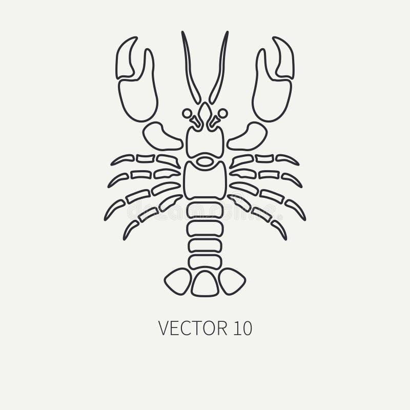 Rayez l'icône de faune d'océan de vecteur de plaine plate - homard Rétro simplifié Type de dessin animé cancer omar Délicatesse d illustration stock