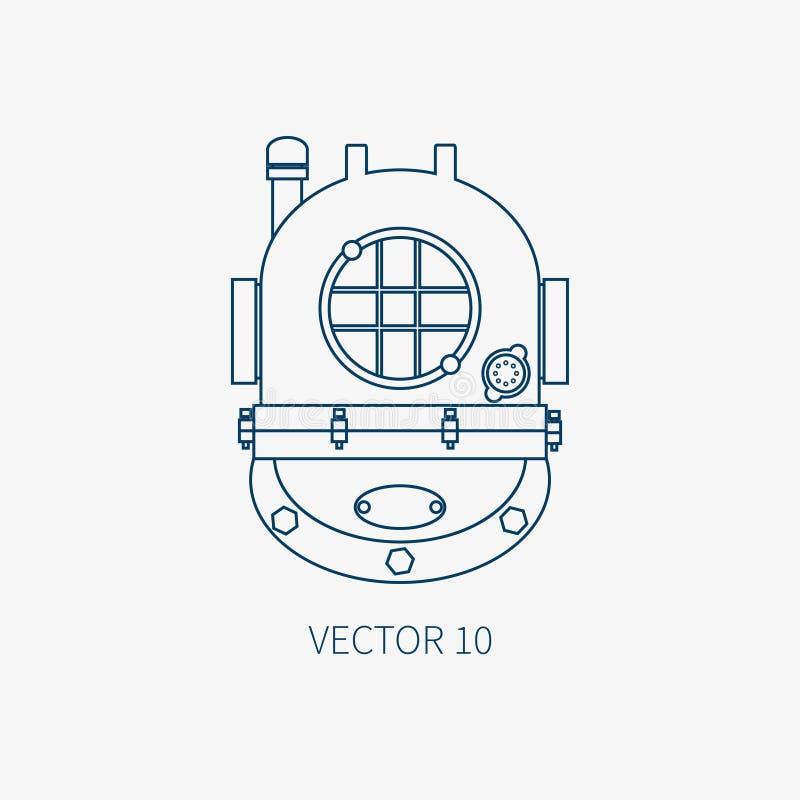 Rayez l'icône marine bleue de vecteur plat avec les éléments nautiques de conception - casque de plongée Type de dessin animé Ill illustration de vecteur