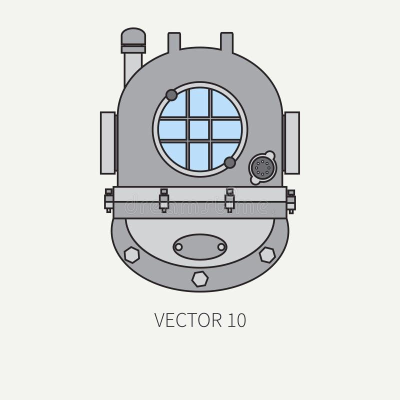 Rayez l'icône marine de couleur plate de vecteur avec les éléments nautiques de conception - casque de plongée Type de dessin ani illustration libre de droits