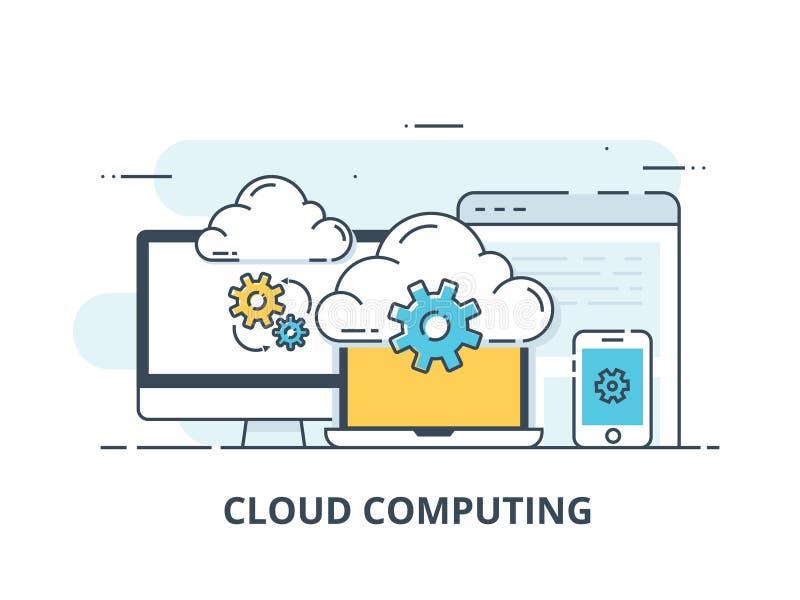 Rayez la bannière de Web de conception pour des services de nuage et la technologie de calcul, stockage de données illustration stock