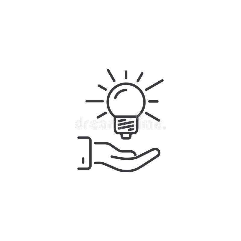 Rayez la main tenant l'icône d'ampoule d'idée sur le fond blanc illustration libre de droits