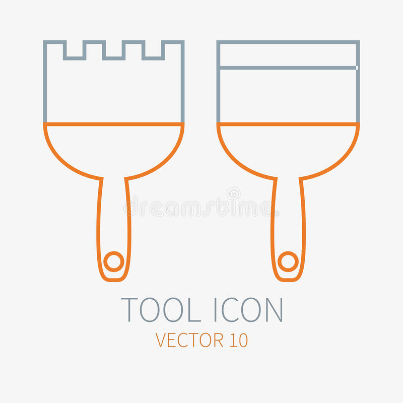 Rayez la spatule fonctionnante de couleur pour la construction, le bâtiment et l'icône à la maison de réparation Illustration de  illustration stock