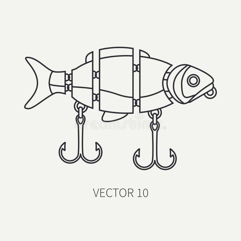 Rayez le pêcheur plat de vecteur et l'hameçon d'icône de camping, babioles, wobbler Équipement de pêcheur Rétro style de bande de illustration libre de droits