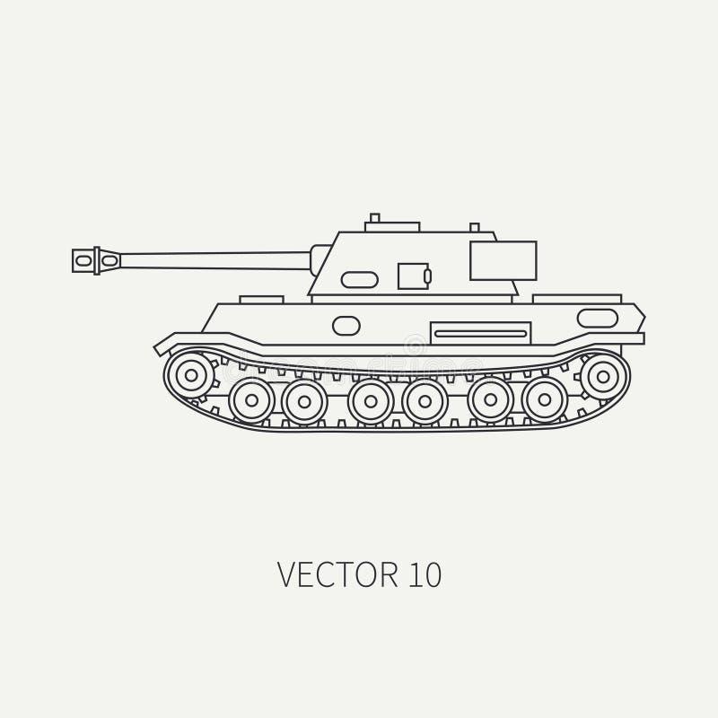 Rayez le réservoir d'armée d'assaut d'infanterie d'icône de vecteur de plaine plate Véhicule militaire Style de vintage de bande  illustration stock