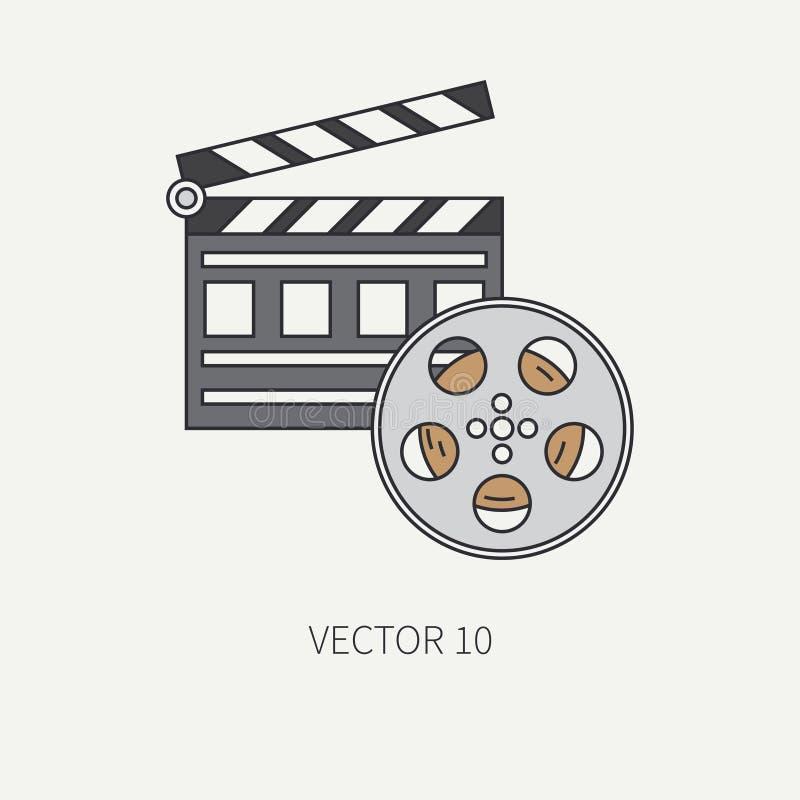 Rayez les éléments plats d'icône de vecteur de couleur du cinéma - bobine de film de 35mm, claquette Type de dessin animé cinéma  illustration stock