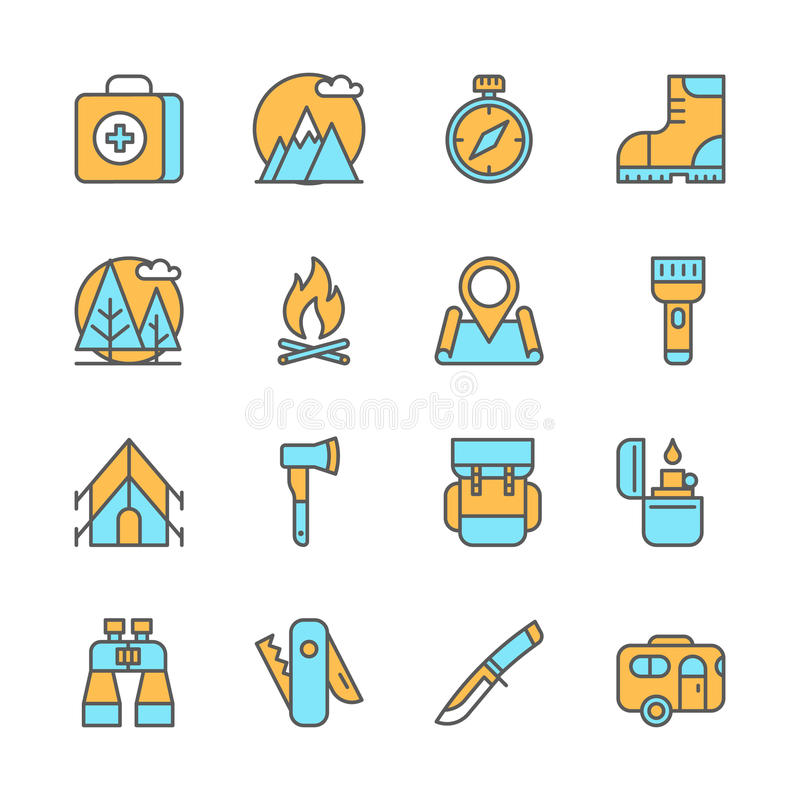 Rayez les icônes plates de l'équipement de camping, augmentant illustration libre de droits