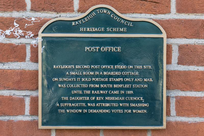 Post Office Plaque in Rayleigh. RAYLEIGH, ESSEX - APRIL 18TH 2018: The plaque on the High Street in Rayleigh, Essex, commemorating the history of the location stock photos