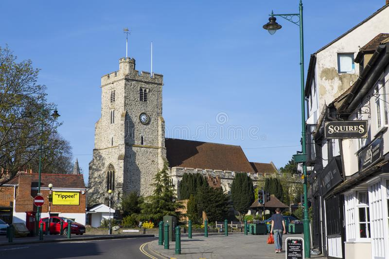 Rayleigh in Essex. RAYLEIGH, ESSEX - APRIL 18TH 2018: A view of Holy Trinity church from the High Street in the market town of Rayleigh in Essex, UK, on 18th stock image