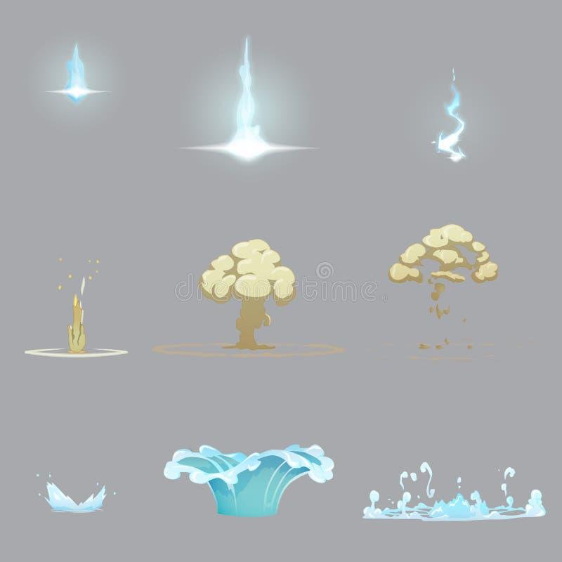 Rayo, chapoteo del agua y explosión de la tierra ilustración del vector