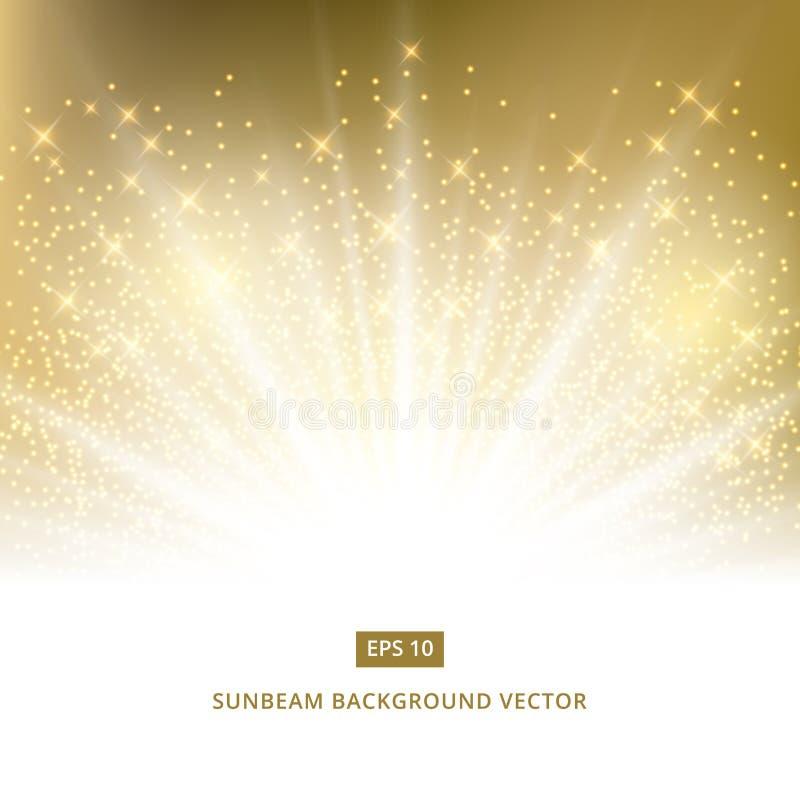 Rayo de sol de oro del fondo con vector del brillo del oro ilustración del vector