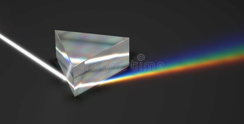 Rayo ligero y arco iris ópticos de la prisma ilustración del vector