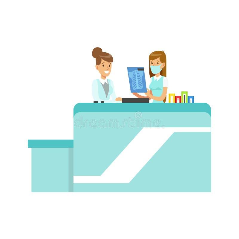 Rayon X de docteur Showing An à interner, hôpital et illustration de soins de santé illustration de vecteur