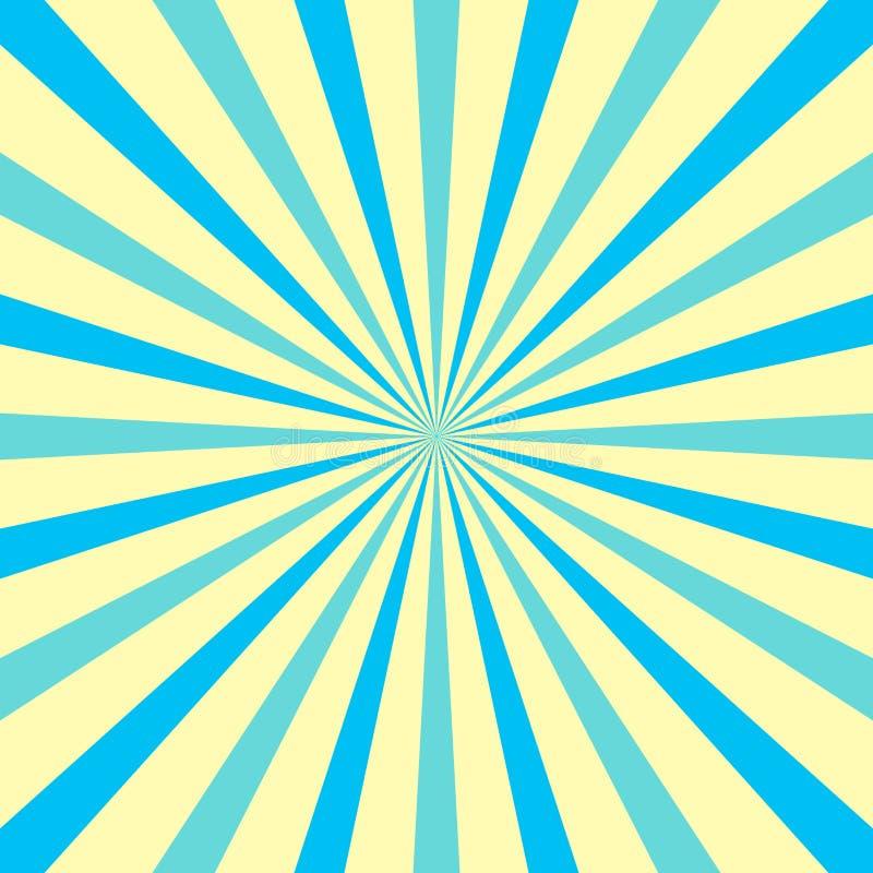 Rayon de soleil avec Pale Pastel Color pour des rayons et des poutres Tone Explosion multi avec des lignes de texture, de profond illustration libre de droits