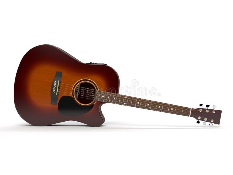 Rayon de soleil de guitare acoustique d'isolement photographie stock libre de droits