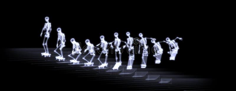 Rayon X de style libre branchant squelettique humain illustration de vecteur