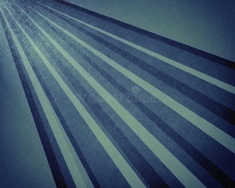 Rayon du soleil ou fond abstrait de modèle de starburst dans la ligne diagonale bleu-foncé et blanche texturisée par vintage conc illustration libre de droits