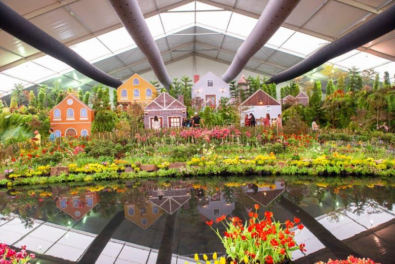 Rayong Tajlandia Kwiecie? 08 2019 Niezidentyfikowani ludzie przychodz?cy widzie? R??norodny Kolorowy tulipanu kwiat zdjęcia stock