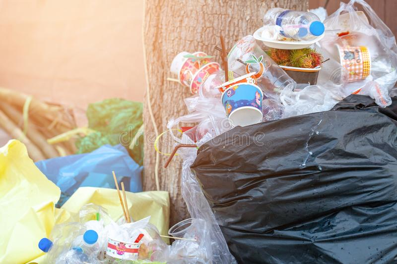 Rayong, Thailand - January 19, 2019: Piles of rubbish these wastes come from tourists who throw trash out of place.selective focus stock photography