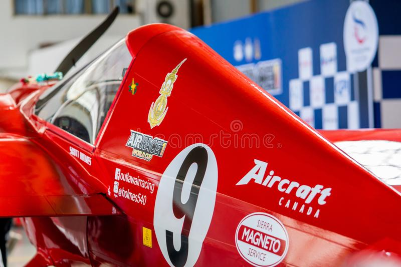 Scott Holmess`s plane no.9 `Outlaw` aircraft model Cassutt III-M in Air Race 1 World Cup Thailand 2017 at U-Tapao Naval Air Base. RAYONG, THAILAND-NOVEMBER 18 stock images