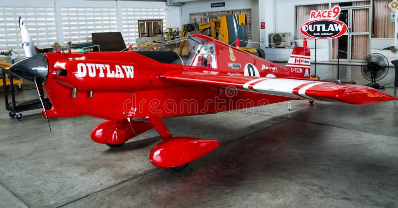 Scott Holmess`s plane no.9 `Outlaw` aircraft model Cassutt III-M in Air Race 1 World Cup Thailand 2017 at U-Tapao Naval Air Base. RAYONG, THAILAND-NOVEMBER 18 royalty free stock images