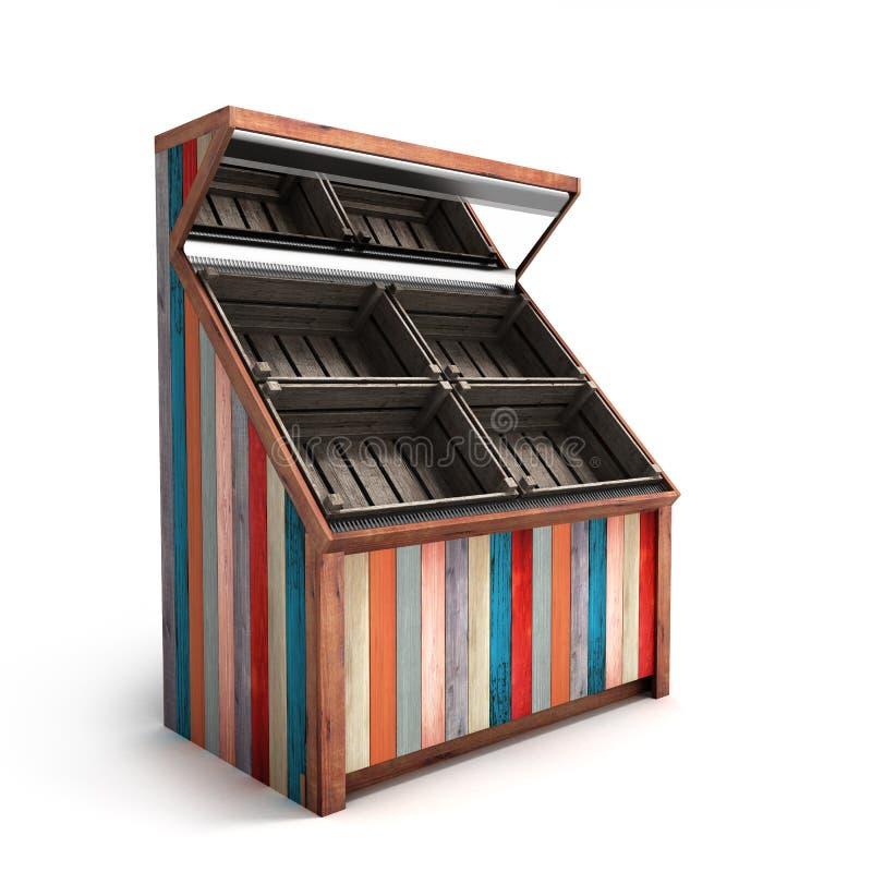 Rayonnage végétal en bois vide multicolore avec le rende des boîtes 3d illustration stock