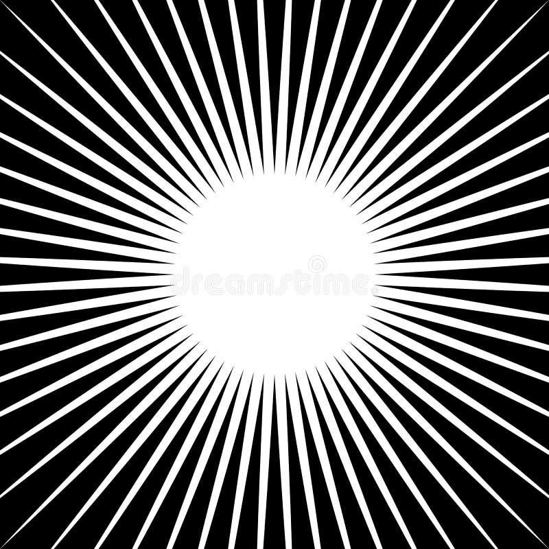 Rayonnant des lignes modèle de starburst Rayons radiaux, faisceaux illustration stock