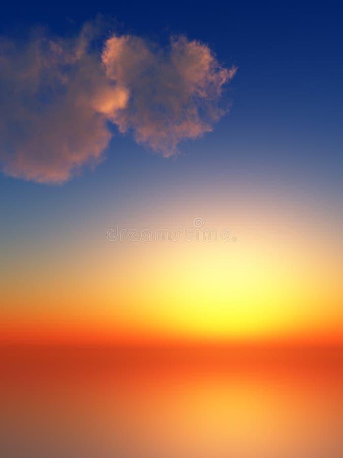 rayonne le coucher du soleil de ciel illustration de vecteur