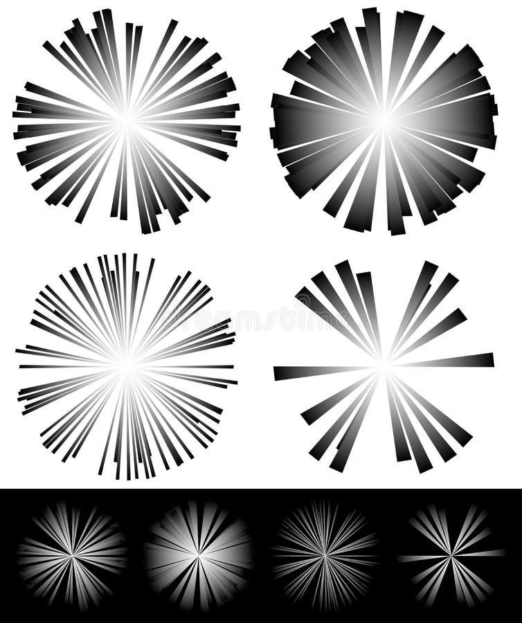 Rayonnement des faisceaux, éléments de rayons illustration stock