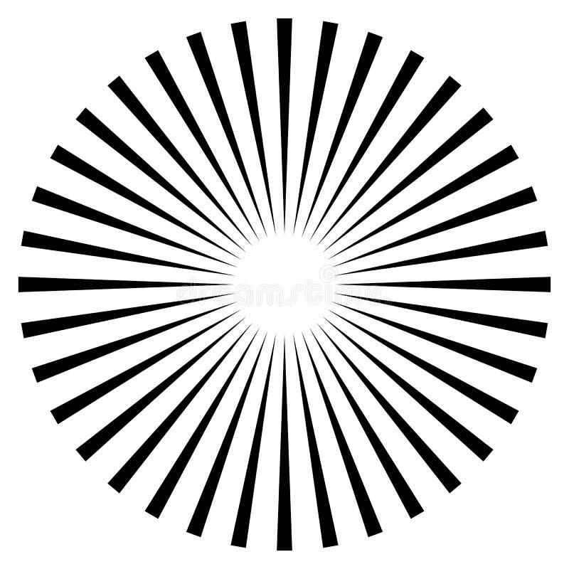Rayons, élément de faisceaux Rayon de soleil, forme de starburst sur le blanc Radiati illustration libre de droits