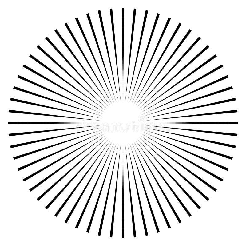 Rayons, élément de faisceaux Rayon de soleil, forme de starburst sur le blanc Radiati illustration de vecteur