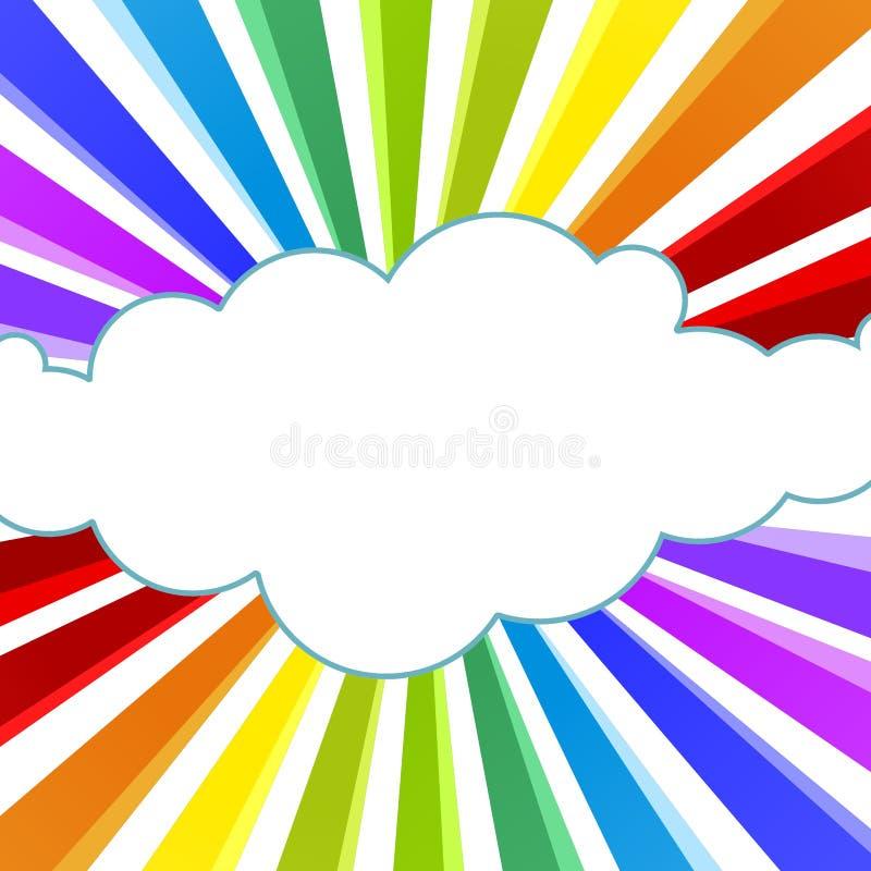 Rayons d'arc-en-ciel et carte de voeux de nuage illustration libre de droits