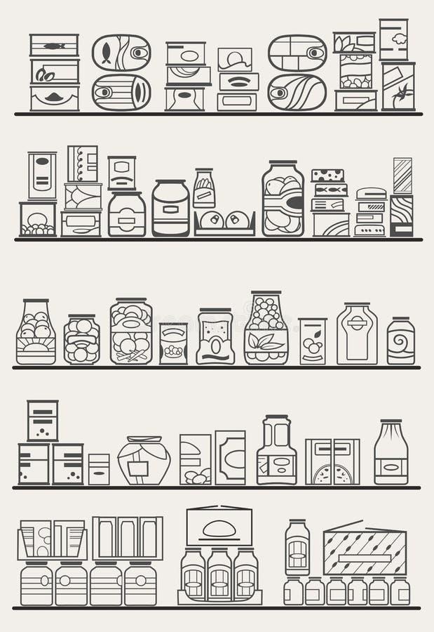 Rayons de magasin avec des marchandises illustration libre de droits