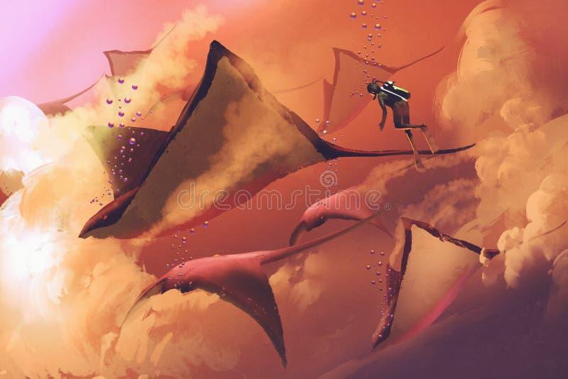 Rayons de plongeur et de manta volant dans le ciel nuageux illustration libre de droits