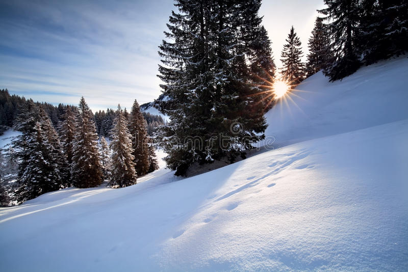 Rayons de soleil au-dessus des collines neigeuses photos libres de droits