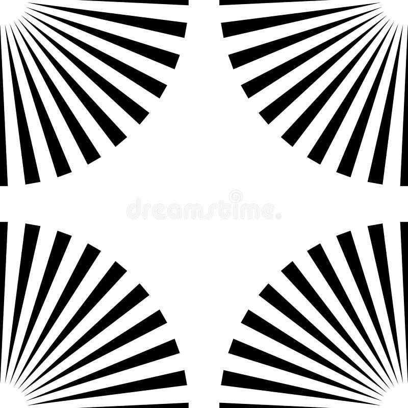 Rayons de Starburst, modèle géométrique sans couture de faisceaux R monochrome illustration de vecteur