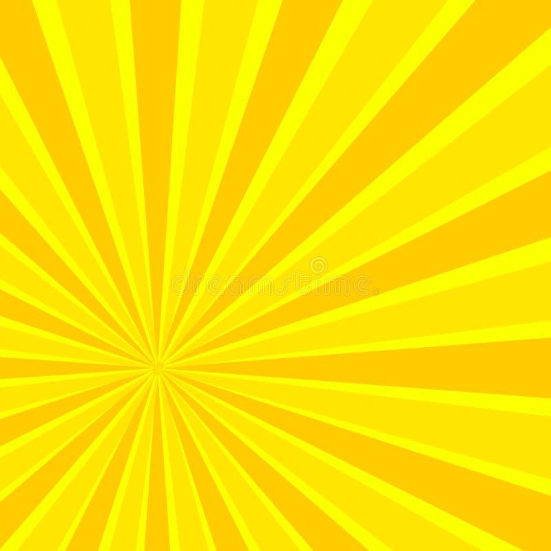 Rayons de Sun de bande dessinée de vecteur, fond jaune lumineux illustration libre de droits
