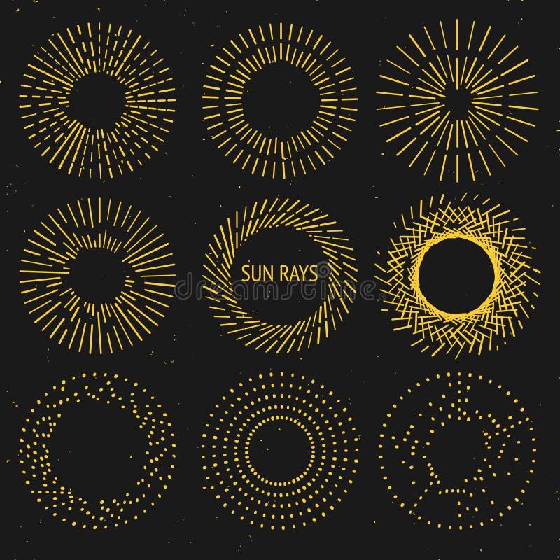 Rayons de Sun réglés illustration de vecteur