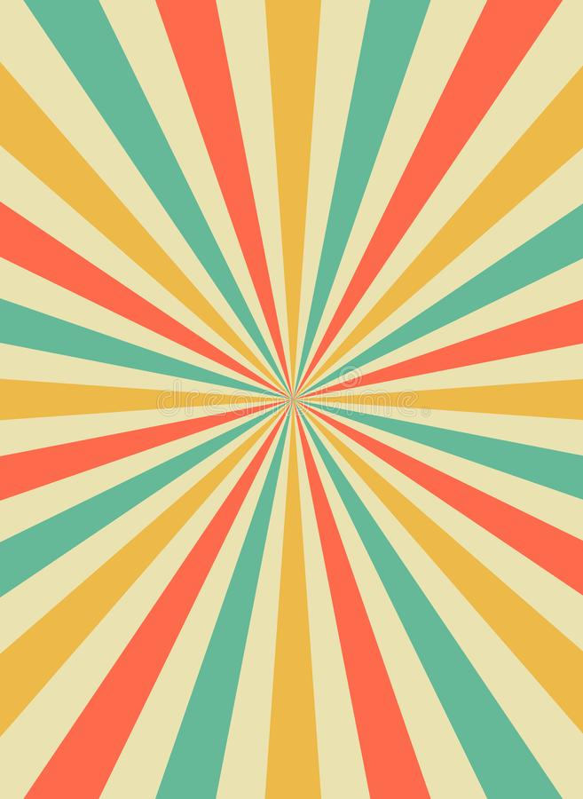 Rayons du soleil de lever de soleil dans le r?tro style de starburst r Vecteur plat illustration stock