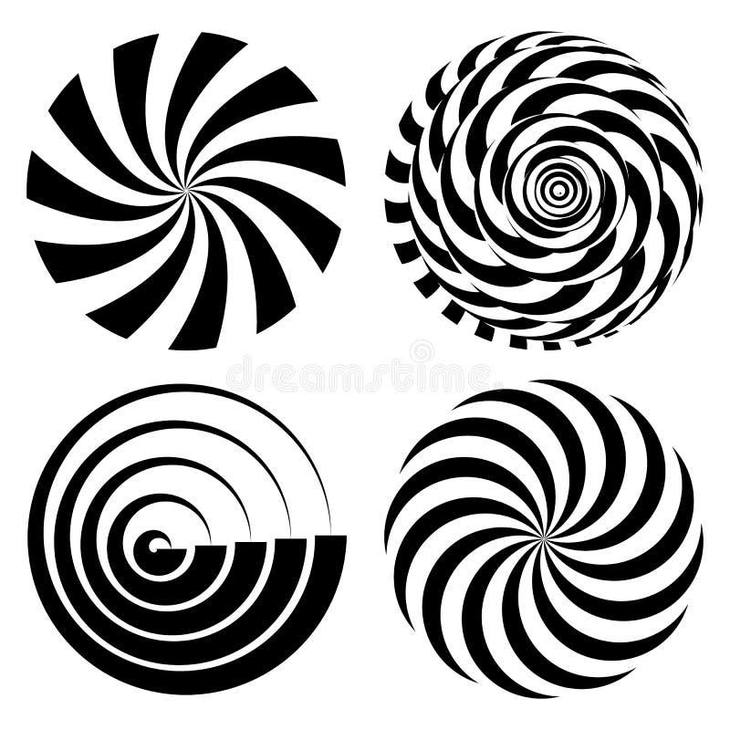 Rayons en spirale radiaux réglés Illustration psychédélique de vecteur Effet tordu de rotation Formes monochromes de tourbillonne illustration libre de droits
